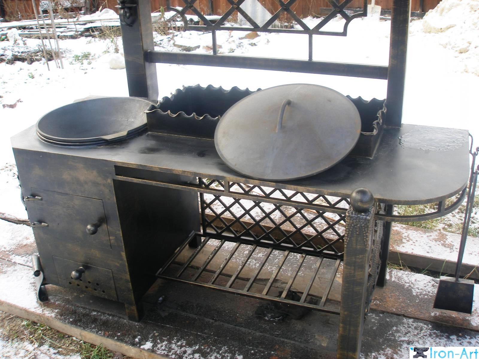 Печь под казан с мангалом из металла своими руками 6