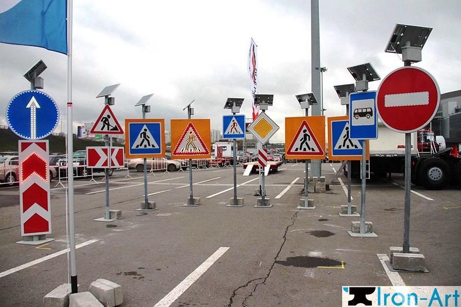 ustanovka dorojnyh znakov - Опоры дорожных знаков